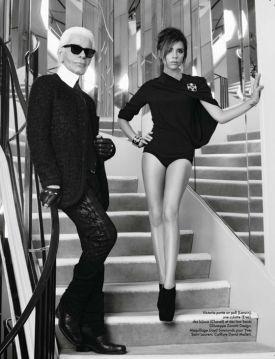 """""""Królowa Victoria"""" - Victoria Beckham i Karl Lagerfeld w ELLE France"""
