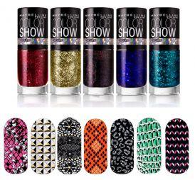 Naklejki na paznokcie i brokatowe lakiery od Maybelline New York!