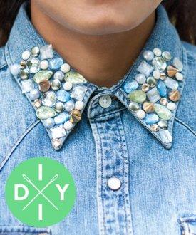 DIY: Koszula z biżuteryjnym kołnierzykiem #bling #bling